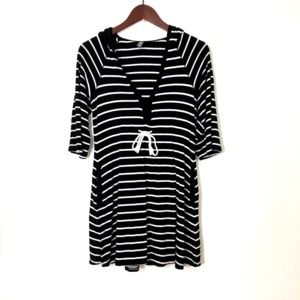 KENNETH COLE REACTION Black Striped Hoodie Dress